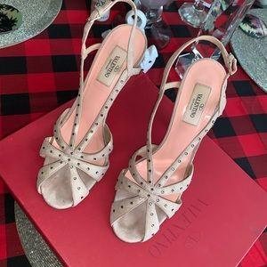 Auth* Valentino Garavani Embellished Suede Sandals